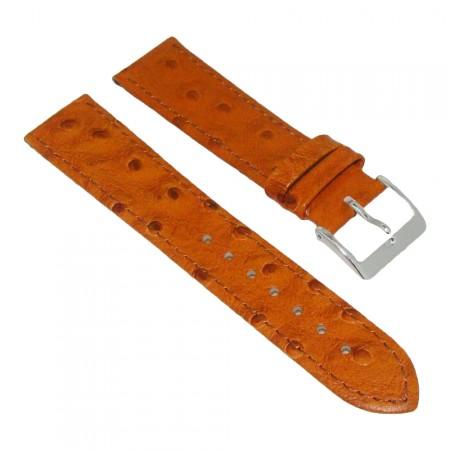 Genuine Leather Quality Tan Brown Ostrich Grain Watch Strap 18/20/22mm