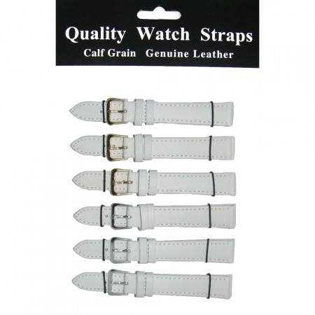 6 x Wholesale Job Lot Regular White Leather watch straps 10mm to 22mm