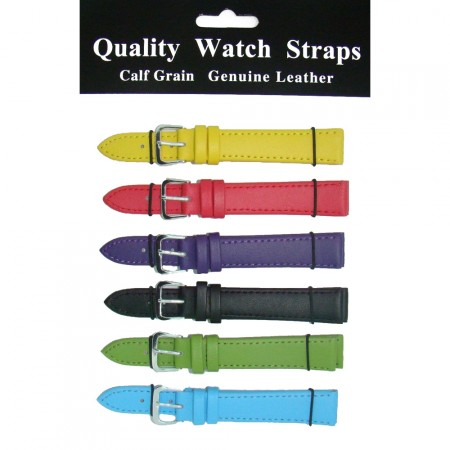 6 x Wholesale Job Lot Regular Mixed Colour Leather watch straps 10mm to 24mm