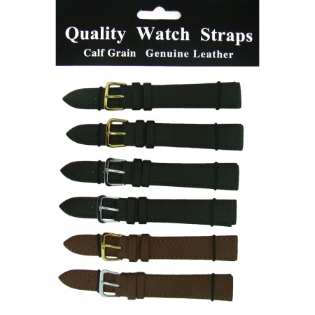 6 x Wholesale Job Lot Regular Brown Leather watch straps 6mm to 24mm