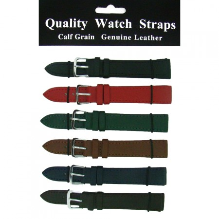 6 x Wholesale Job Lot Colour Leather watch straps 10mm to 22mm