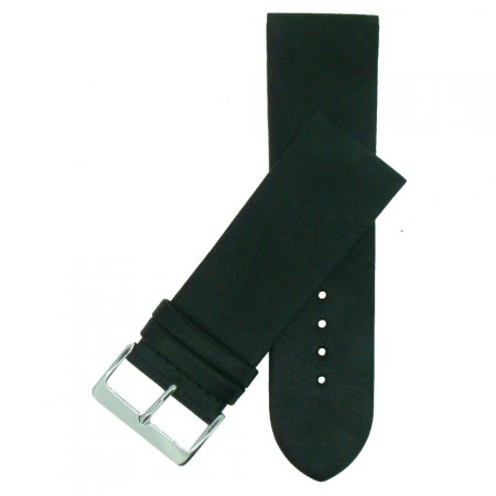 Extra Wide Genuine Black Leather Watch Strap 24mm - 34mm