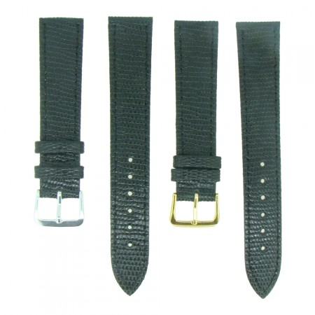 Black TA Lizard Grain Leather Watch Strap 10mm to 20mm With FREE Fitting Pins