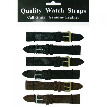 6 x Wholesale Job Lot Regular Lizard Grain Leather Watch Straps 10mm to 22mm