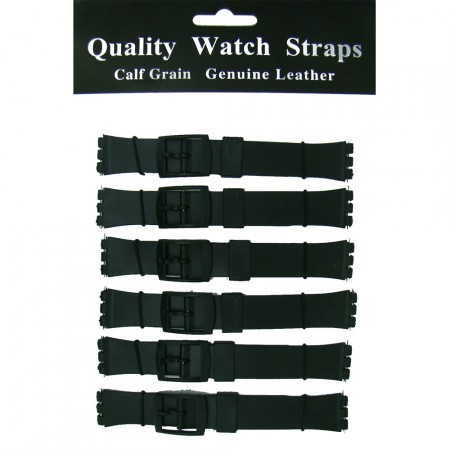 6 x Wholesale Job Lot 14mm and 17mm Black Swatch Resin Watch Strap