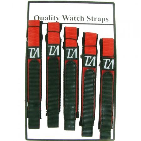 5 x Wholesale Job Lot Mens TA 18mm Red Nylon Watch Strap
