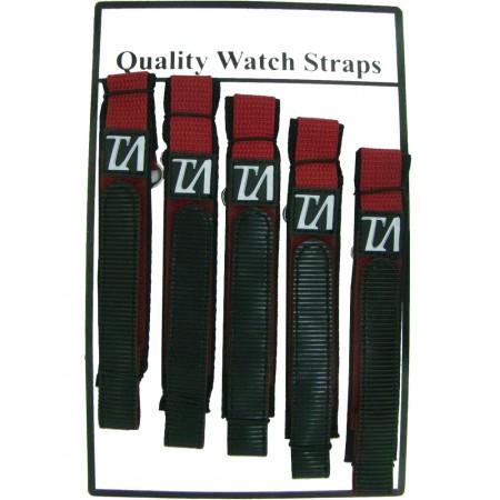 5 x Wholesale Job Lot Mens TA 18mm Burgundy Nylon Watch Strap