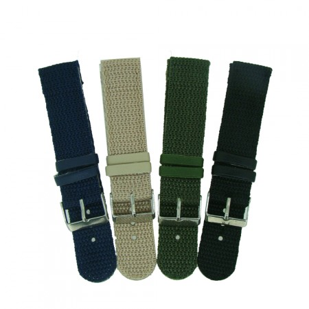 Nylon 2pc Military Style Watch Strap 18mm/20mm/22mm With Free Fitting Pins