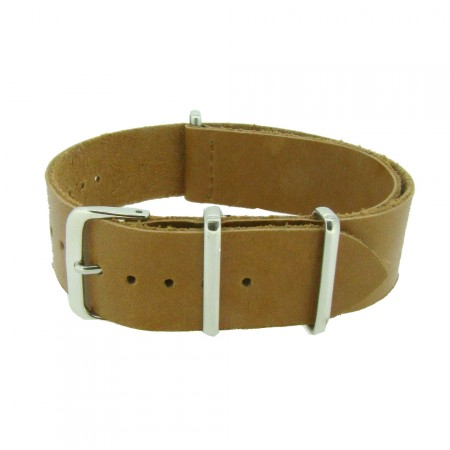 One-Piece Tan Leather Thread Through Army Military Watch Strap 18/20/22/24mm