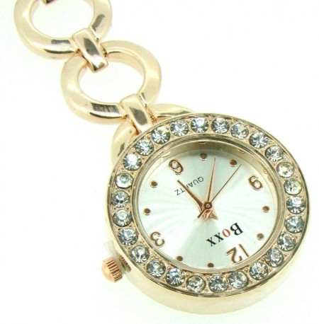 New Round Rose Gold Diamante Nurse Beauticians Fob Watch by BOXX