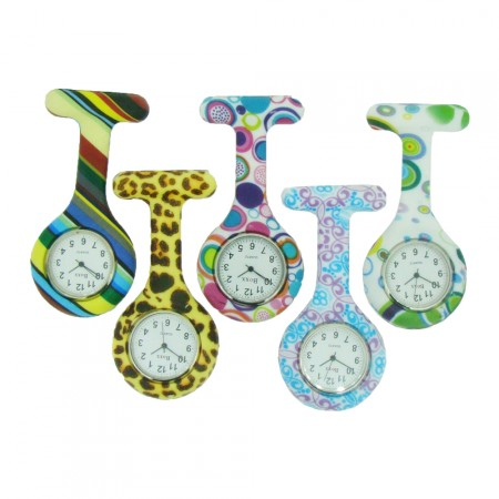 Brand New Patterned Silicone Nurse Fob Watch by BOXX With 2 x Free Batteries