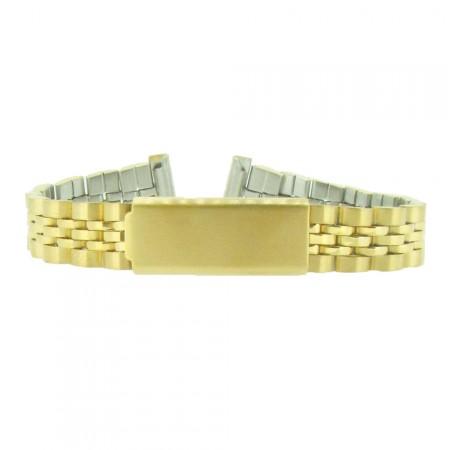 16mm Stainless Steel Gilt Tone 5 Link Metal Bracelet  Watch Strap