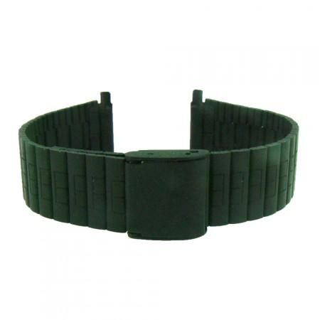New Matt Black Stainless Steel 2 peice Watch Strap Flexi End 16/18/20/22mm