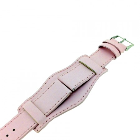 Genuine Leather Pink Military Cuff Watch Strap 18mm 20mm 22mm and 24mm