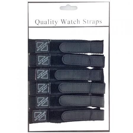 6 x Wholesale Job Lot Mens 18mm Black Nylon Watch Strap