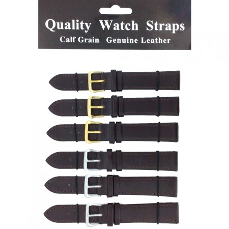 6 x Wholesale Job Lot Extra Long Dark Brown Leather watch straps 10mm to 22mm