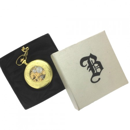 New BOXX Mechanical Gilt Tone Glass Back Masonic Pocket Watch and Chain Boxed