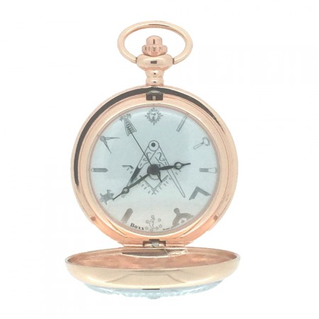 New BOXX Rose Gold Case Two Tone Masonic Pocket Watch and Chain Boxed