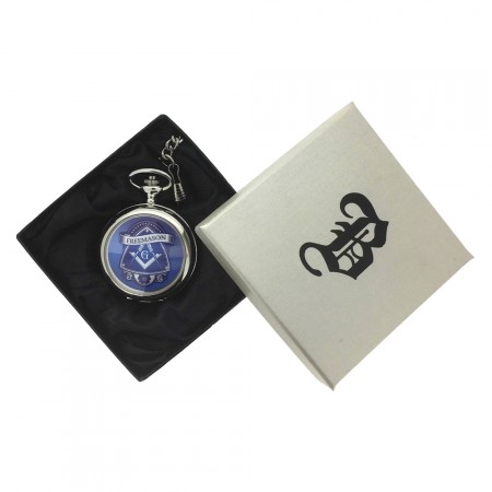 New BOXX Silver Freemason Masonic Pocket Watch And Chain