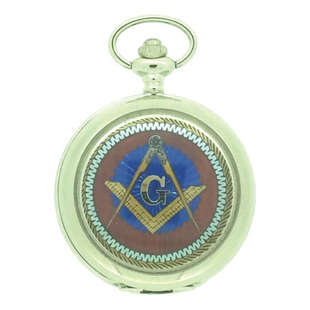 New BOXX Silver Square And Compass Masonic Pocket Watch And Chain