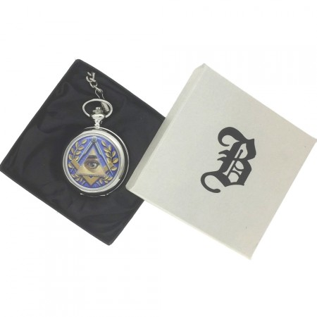 New BOXX Silver All Seeing Eye Masonic Pocket Watch And Chain