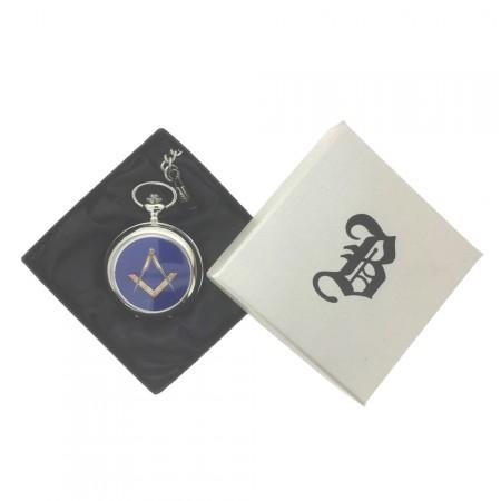 New BOXX Silver Masonic Pocket Watch And Chain