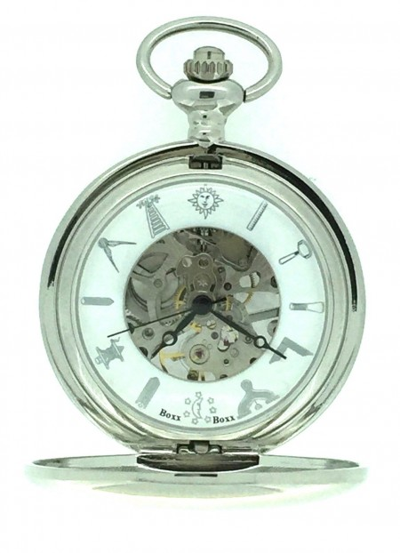New BOXX Mechanical Silver Tone Glass Back Masonic Pocket Watch and Chain Boxed