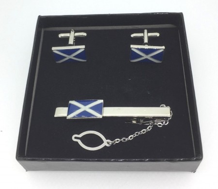 Scotland Soltire Scottish Flag Tie Pin And Cuff Link  Boxed Gift Set