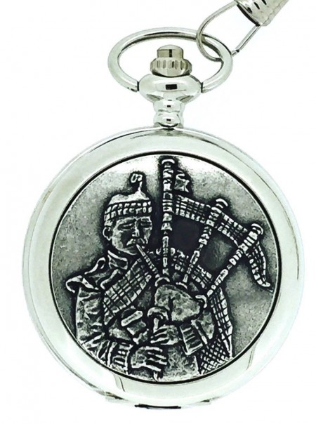 Solid Pewter Fronted Quartz Highland Piper Pocket Watch