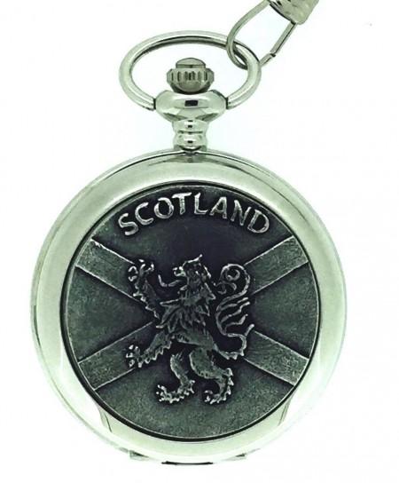 Solid Pewter Fronted Quartz Scottish Rampant Lion Pocket Watch