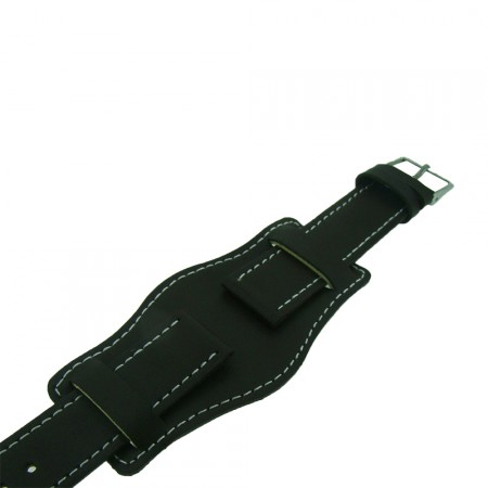 Dark Brown Genuine Leather Military Cuff Watch Strap 18mm and 20mm
