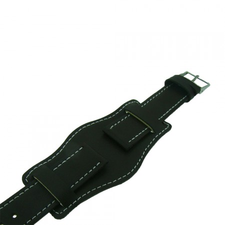 Dark Brown Genuine Leather Military Cuff Watch Strap 22mm and 24mm