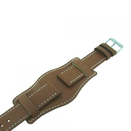 Tan Brown Genuine Leather Military Cuff Watch Strap 22mm and 24mm