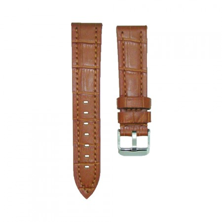 Sturdy High Quality Leather Brown Croc Grain Watch Strap 18/20/22/24mm