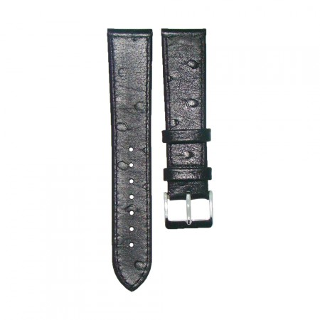Genuine Leather Quality Black Ostrich Grain Watch Strap 18/20/22mm
