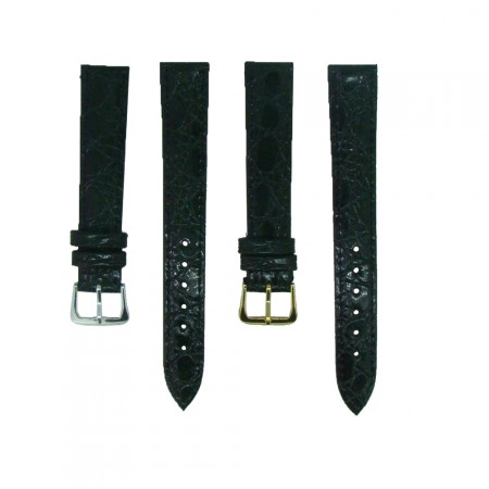 Black TA Croc Grain Leather Watch Strap 10mm to 20mm With FREE Fitting Pins
