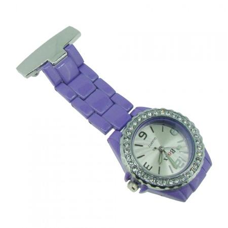 Brand New Purple Diamante Crystal Bezel Nurse Fob by BOXX