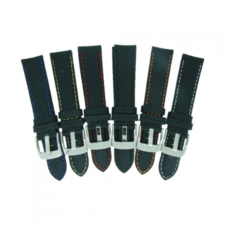 Perforated Sports Leather Coloured Stitch Watch Strap18, 20, 22 and 24mm