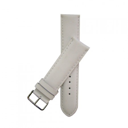 Extra Wide White Padded Leather Watch Strap 20mm - 30mm  & FREE Fitting Pins