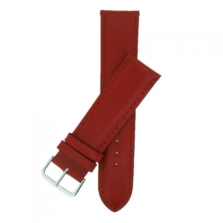 Extra Wide Red Padded Leather Watch Strap 20mm - 30mm  & FREE Fitting Pins
