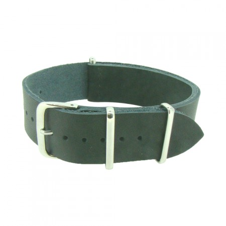 One-Piece Black Leather Thread Through Army Military Watch Strap 18/20/22/24mm