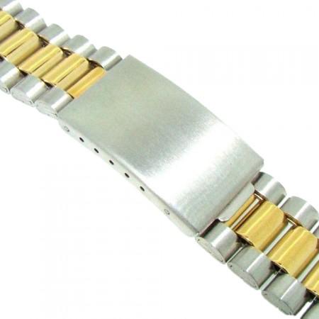 18mm Stainless Steel Two Tone 3 Link Metal Bracelet Watch Strap