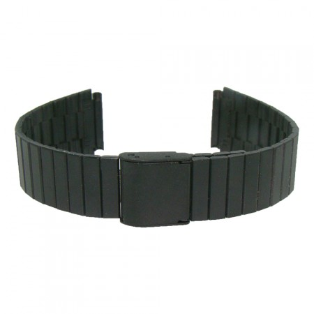 New Matt Black Stainless Steel Metal 18mm 2 peice Watch Strap