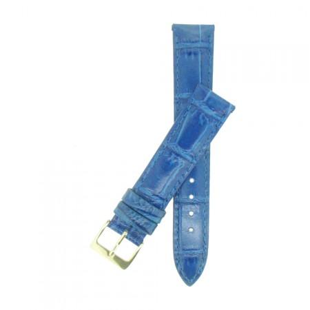 High Quality Blue Padded Croc Grain Watch Strap 14mm 18mm 20mm