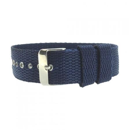 Blue One-Piece 18 / 20 / 22mm Nylon Thread Through Watch Strap