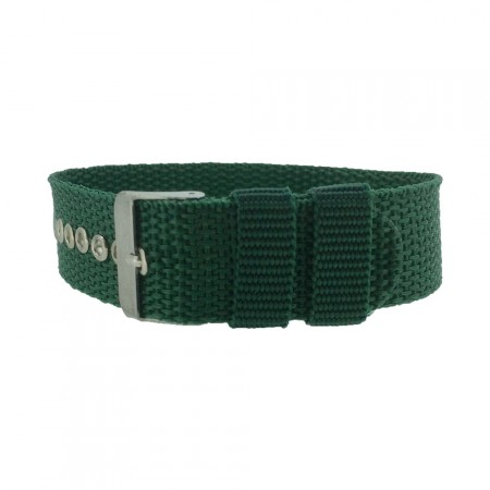 Green One-Piece 18 / 20 / 22mm Nylon Thread Through Watch Strap