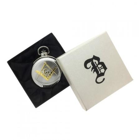 New BOXX Jumbo Two Tone Full Hunter Masonic Pocket Watch and Chain Boxed