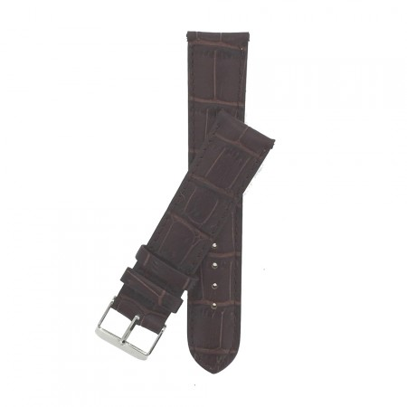 Genuine Brown Crocodile Grain Leather Padded Watch Strap 18mm 20mm 22mm