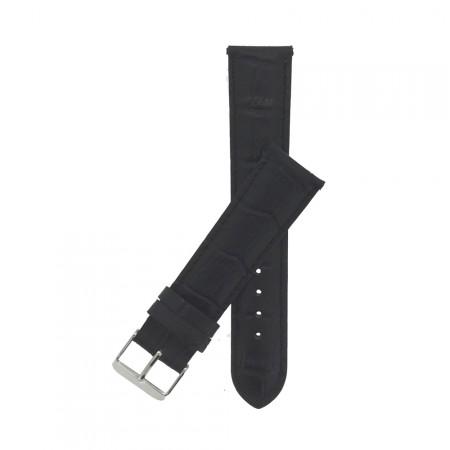 Genuine Black Crocodile Grain Leather Padded Watch Strap 18mm 20mm 22mm