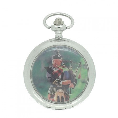 New Scottish Highland Piper Pocket Watch with Chain by WESTIME
